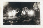 Photographic Postcard of Army Tanks Advancing on a Night Problem
