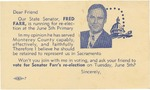 Fred Farr State Senate Campaign Postcard by Fred S. Farr