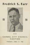 Fredrick S. Farr for Carmel City Council by Fred S. Farr