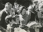 "Fred Farr with Lady Bird Johnson, California Governor Edmund ""Pat"" Brown, and Monterey Mayor Minnie Coyle at the Welcome Ceremony for the First Lady, 1966"