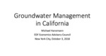 2018 - Groundwater Management in California, Michael Hanemann