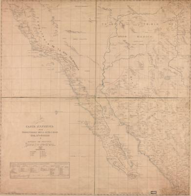 1823 Carta Esferica De Los Territorios De La Alta Y Baja Californias Y Estado De