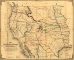 1859 - Map of the United States west of the Mississippi showing the routes to Pike's Peak, overland mail route to California and Pacific rail road surveys. To which are added the new state & territorial boundaries, the principal mail & rail road routes with all the arrangements & corrections made by Congress up to the date of its issue.