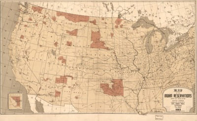 1883 Map Showing Indian Reservations With The Limits Of The United States
