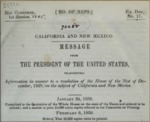 1850, January 21 - Message from the President of the United States on California and New Mexico