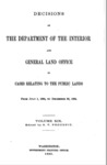1895 - Decisions of the Department of Interior and General Land Office, July 1 - Dec. 30, 1894