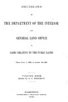 1900 - Decisions of the Department of Interior and General Land Office from July 1, 1899 to April 30, 1900