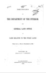 1890 - Decisions of the Department of Interior and General Land Office from July 1 to December 31, 1889