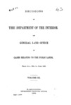 1885 - Decisions of the Department of Interior and General Land Office from July 1884 to June 1885