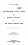 1898 - Decisions of the Department of Interior and General Land Office from July 1897 to December 1897