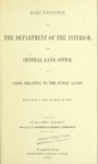 1906 - Decisions of Department of Interior and General Land Office, July 1, 1905 to June 30, 1906