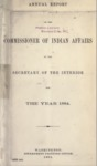 1884 - Report of the Commissioner of Indian Affairs for 1884