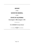 1908 August 1 - 1910 August 1, Kingsbury Report, Surveyor General's Report to Governor of California