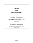 1910 August 1 - 1912 August 1, Kingsbury Report, Surveyor General's Report to Governor of California