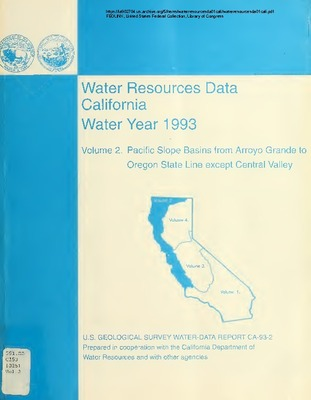 1994 - Water Resources Data California - Pacific Slope