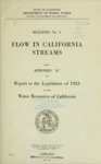 1923 - Flow in California Streams, Bulletin No. 5, Appendix A, Report to the Legislature