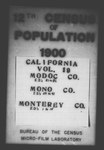 Twelfth Census of the United States: 1900, Schedule No. 1--Population, California, Modoc by United States. Bureau of the Census