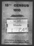 Thirteenth Census of the United States: 1910--Population, California, Shasta (Part 1)