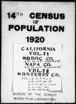 Fourteenth Census of the United States: 1920--Population, California, Modoc