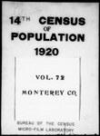 Fourteenth Census of the United States: 1920--Population, California, Monterey (Part 1)
