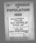 Fourteenth Census of the United States: 1920--Population, California, San Benito