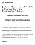 Quotes and Comments on Bob's Role in Alternative Energy and Environmental Technology